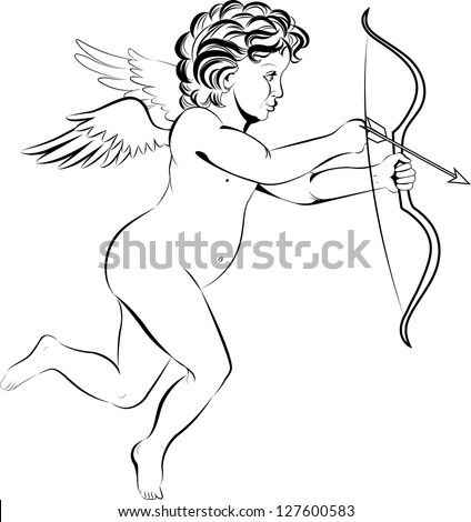In Valentine's Day Cupid in graphic style with a transparent background