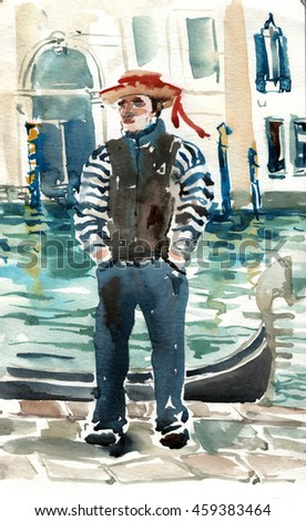 In Venice. Hand drawn watercolor Italian theme painting. Venetian gondolier illustration with channel and gondola in background. - stock photo