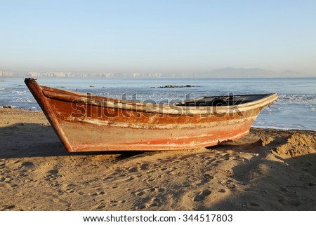 In winter, the sea fishing boat