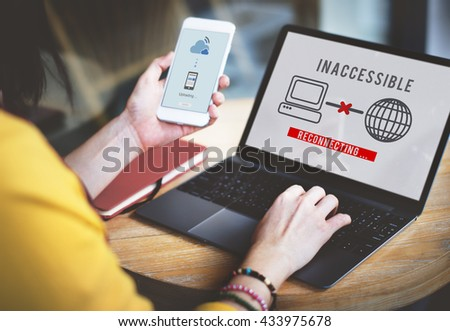 Inaccessible Denied Firewall Rejection Security Concept - stock photo