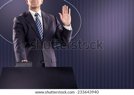 inauguration scene, new president under oath  - stock photo
