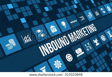 Inbound marketing concept image with business icons and copyspace. - stock photo