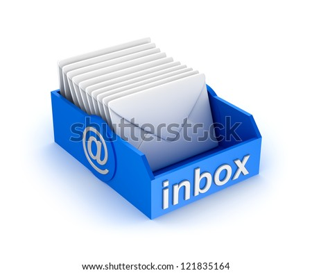Inbox mail icon with letters. isolated on white - stock photo