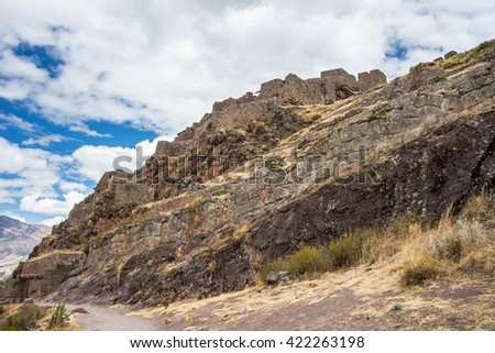 Inca architectural heritage, wall and building ruins of Pisac, Inca's site in Sacred Valley, major travel destination in Cusco region, Peru. - stock photo
