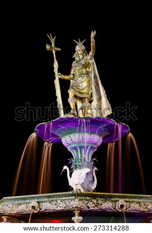 Inca fountain in the Plaza de Armas of Cusco, Peru - stock photo
