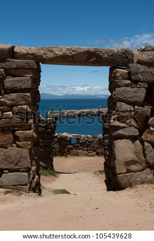 Inca ruins on isla del sol on the lake titicaca in Bolivia - stock photo