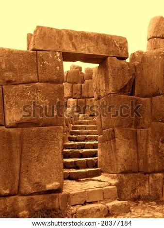 Inca stonework at Sacsayhuaman, Cusco Peru - stock photo