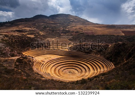 Inca terrace  ruins in Moray ,Cuzco, Peru - stock photo