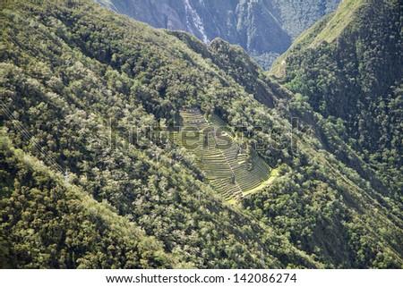 Inca trail to Machu Picchu, Cusco, Peru - stock photo
