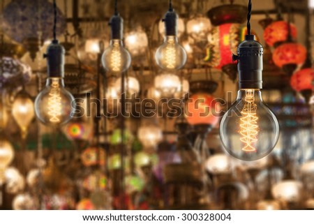 Incandescent bulbs on light equipment market in Istanbul - stock photo