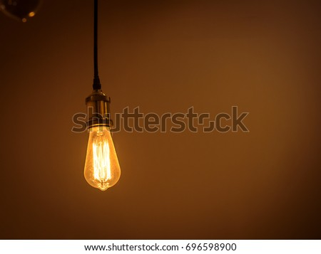 Incandescent light bulb is hanging decorated interior room. luxury interior bulb.