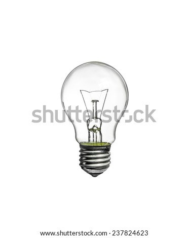 Incandescent light bulb isolated on white background