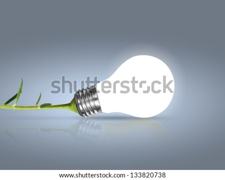 Incandescent light bulb with plant as the filament - stock photo