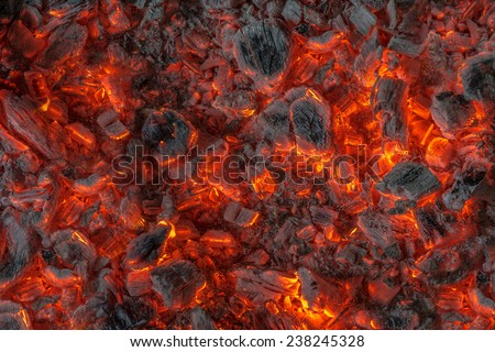incandescent orange and red embers texture - stock photo