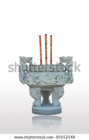 Incense burner isolated on white background. - stock photo