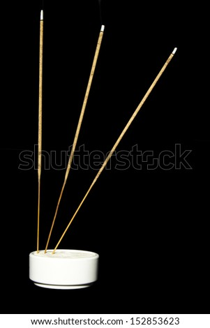 Incense on Black Background and Foreground Burning