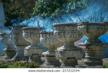 incense smokes,Incense stick,monastery Buddha in Sri Lanka. - stock photo