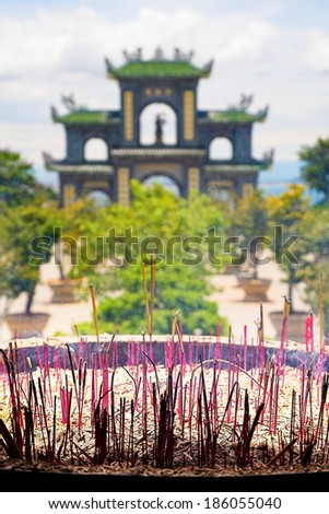 Incense Sticks Burning Outside of Temple - stock photo