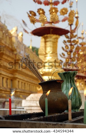 Incense Sticks Burning with Smoke - stock photo