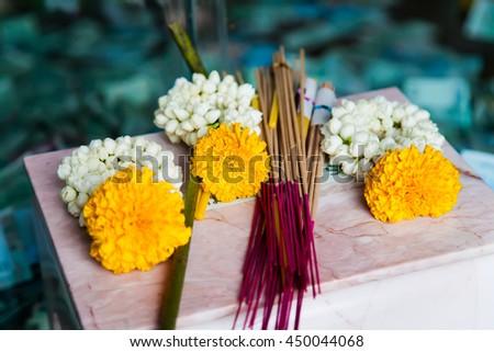 Incense sticks used for Buddhist praying - stock photo