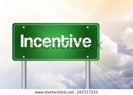 Incentive Green Road Sign, business concept - stock photo