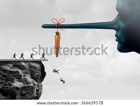 Incentive trap and corrupt leader business concept as a group of people running towards a carrot tied to a liar nose and fooled into fall off a cliff as a metaphor for entrapment. - stock photo