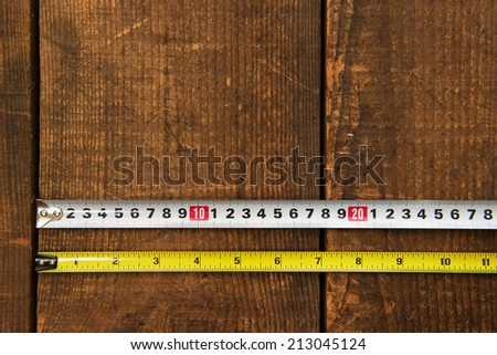 Inch measure and metric measure side by side, on a wooden work table. starting point is the same position. - stock photo