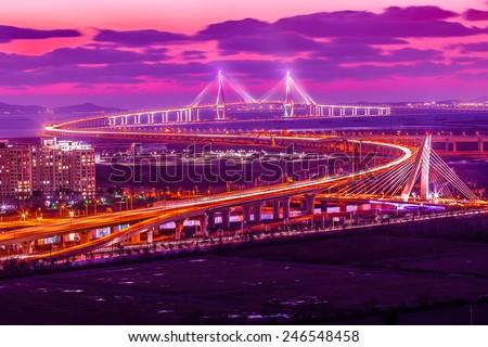 incheon bridge at sunset ,seoul korea - stock photo