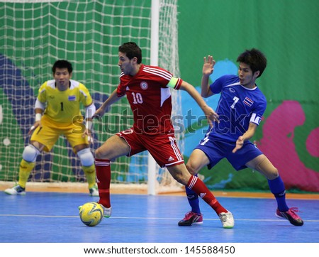 INCHEON - July 3:KAWSAN Kassem #10 of Lebanon in action during futsal match vs. Thailand in an 4th Asian Indoor and Martial Arts Games at Songdo Global University on July 3, 2013 in Incheon, Korea.