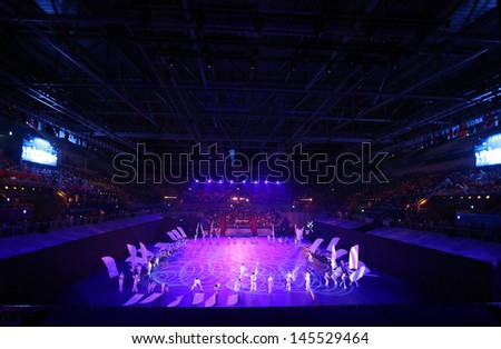 INCHEON - June 29:Samsan World Gymnasium during the Opening Ceremony 4th Asian  Indoor&Martial Arts Games 2013 on June 29, 2013 in Incheon, South Korea.