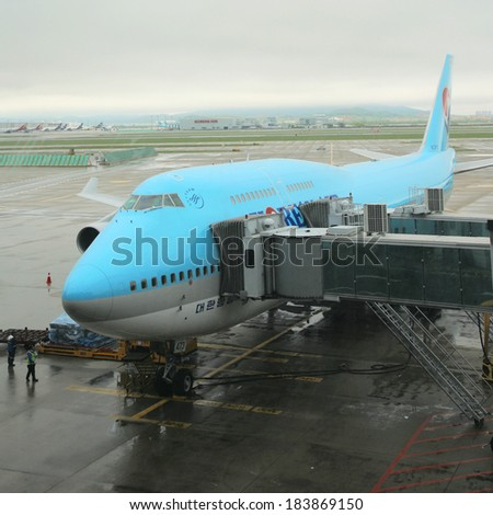 INCHEON - MAY 20 :  Korean Air Boeing 747 in Incheon International Airport on May 20, 2011, Incheon, South Korea. Korean Air is the largest airline of South Korea, serve 130 cities in 45 countries