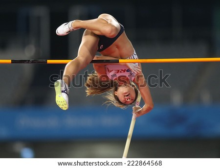 INCHEON - SEP 30:CHOI Yeeun of Korea in action during the 2014 Incheon Asian Games at Incheon Asiad Main Stadium on September 30, 2014 in Incheon, South Korea.