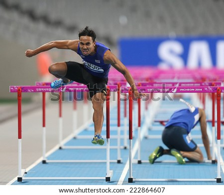 INCHEON - SEP 30:Jamras RITTIDET of Thailand in action during the 2014 Incheon Asian Games at Incheon Asiad Main Stadium on September 30, 2014 in Incheon, South Korea.