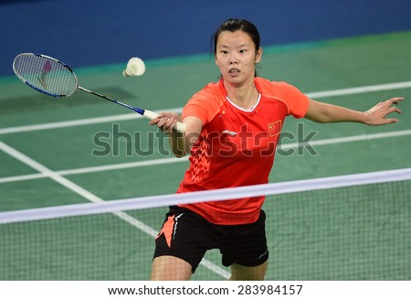 INCHEON, SOUTH KOREA- SEPTEMBER 20: Li Xuerui of China in action of women's team of badminton the 2014 Asian Games at Gyeyang Gymnasium on September 20, 2014 in Incheon, South Korea.