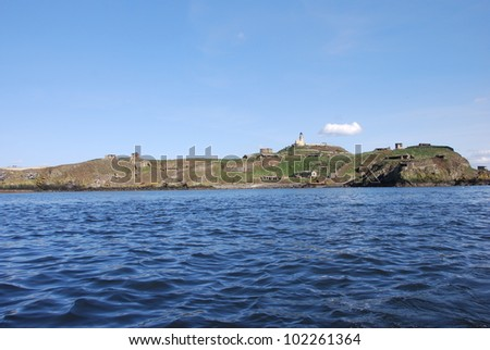 Inchkeith from Forth - stock photo
