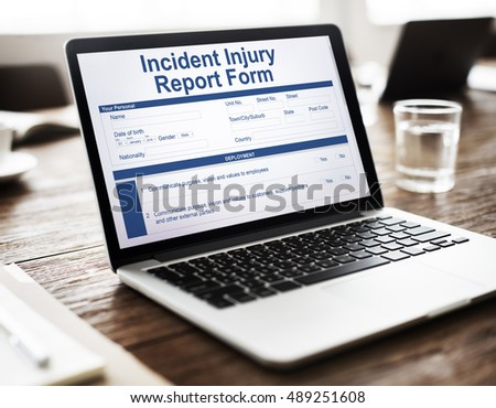 Incident Injury Report Form Document Concept