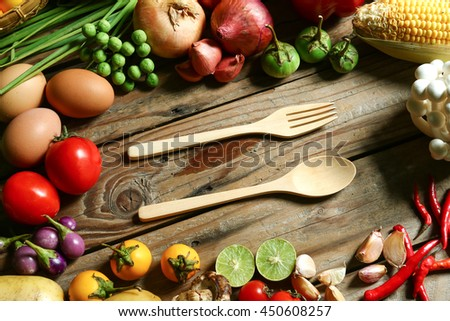 Include fresh organic vegetables and dining Sets on wooden floor with copy space