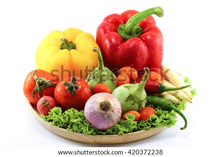 Include vegetables on white background