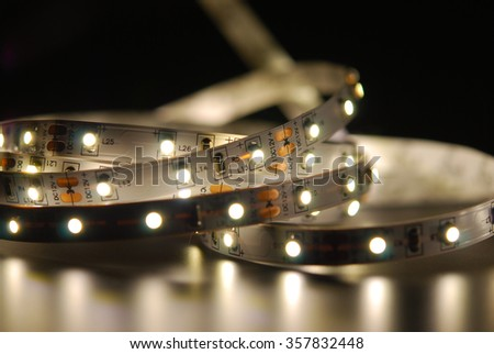 Included Led strip on the black background - stock photo