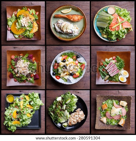 Including healthy foods salad set. fruit salad,ham bacon,salmon,Caesar salad,tuna salad  - stock photo
