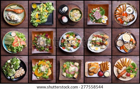 Including healthy foods salad set. fruit salad,ham bacon,salmon,Caesar salad,tuna salad,fish and chips,chicken leg,smoked sausage - stock photo