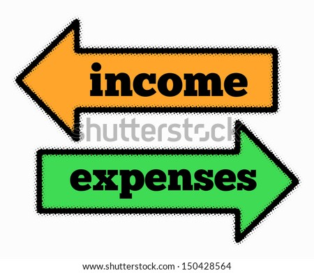 Income and expenses signs in orange and green arrows concept - stock photo