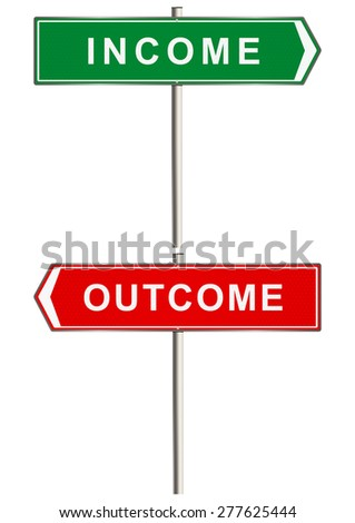 Income and outcome. Road sign. Raster