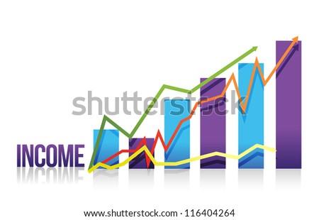 income colorful graph illustration design over white - stock photo