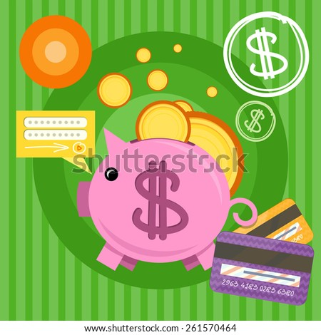Income saving series. Piggy bank with coins and card, financial savings and banking economy, long-term deposit investment. Flat icon modern design style concept. Raster version - stock photo