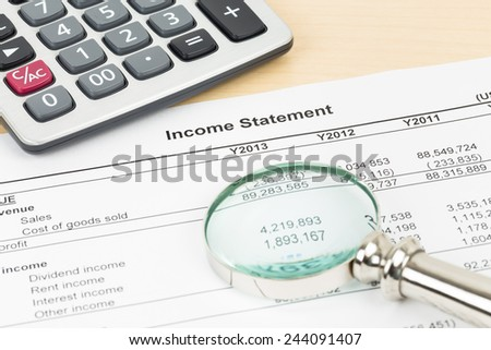 Income statement financial report with magnifier, and calculator