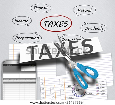 Income tax as a concept in the background graphs - stock photo