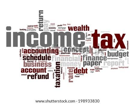 Income tax word cloud - stock photo