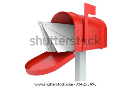 Incoming mail. mailbox with letters isolated on white with clipping path - stock photo