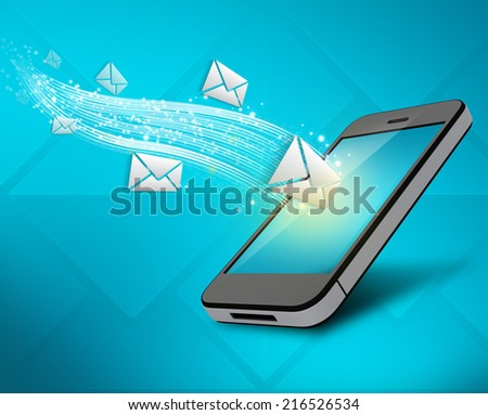 Incoming messages to your mobile phone. colorful illustration - stock photo